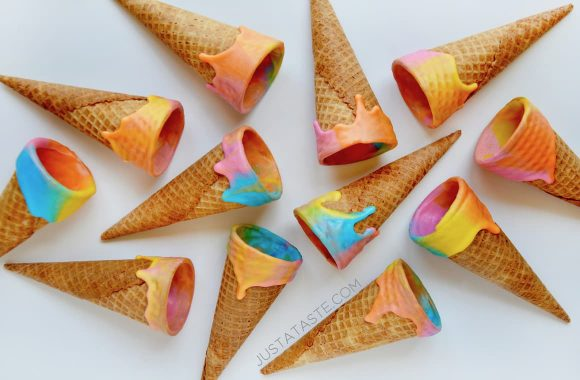 Unicorn Chocolate Dipped Ice Cream Cones by Kelly at Just A Taste
