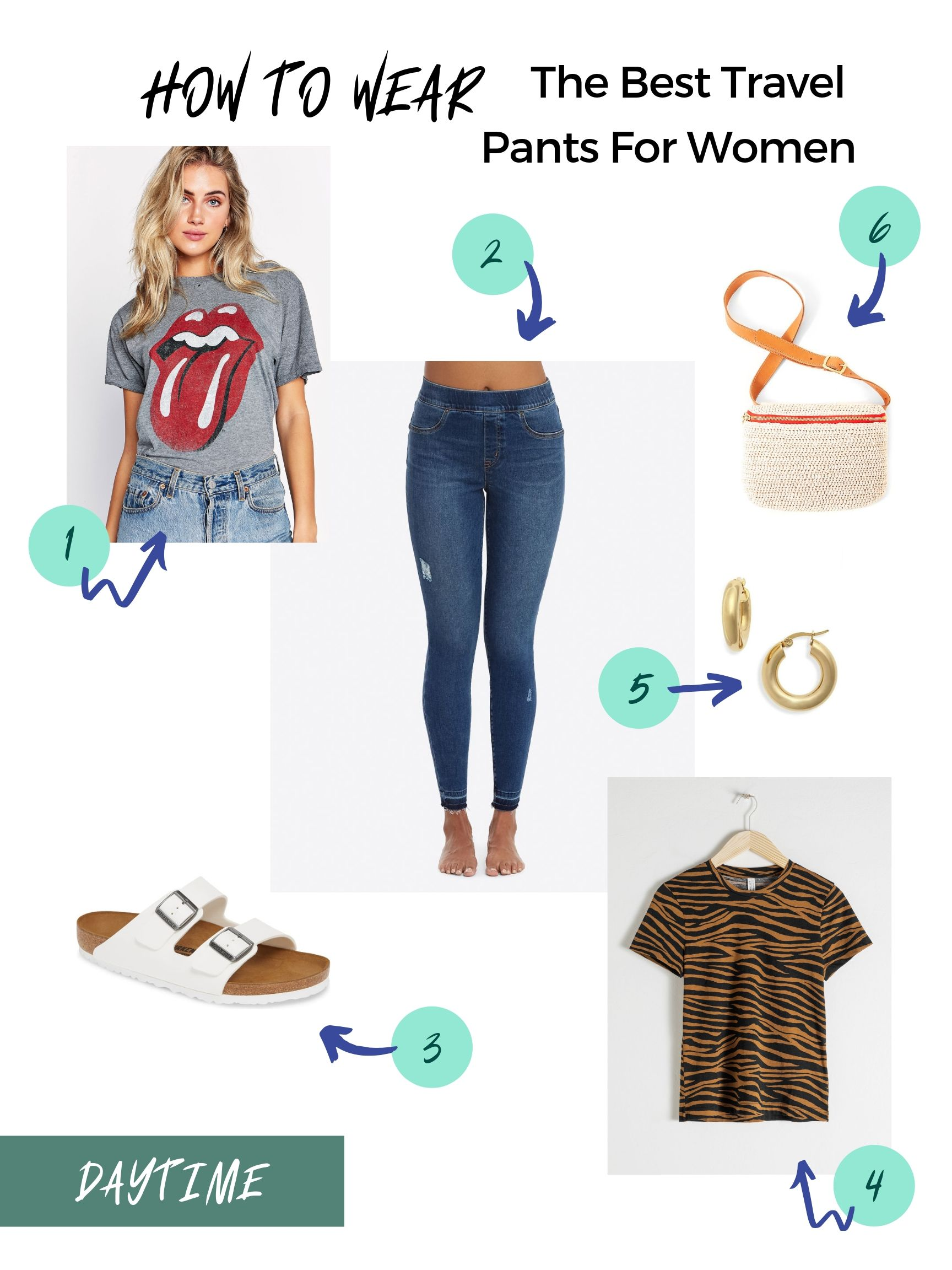 How to wear the best travel pants for women: Daytime styles | mom fashion tips for traveling with kids | Stacie Billis