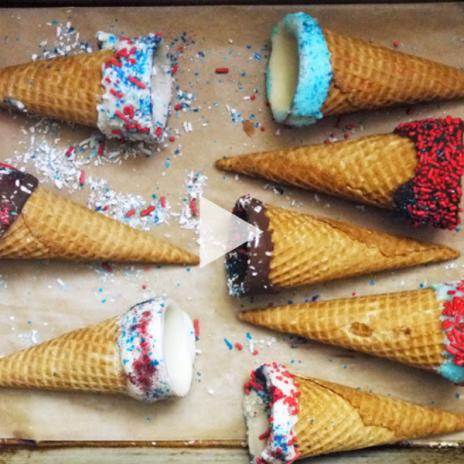 How to make chocolate dipped ice cream cones: 4th of July recipe, Memorial Day recipe | staciebillis.com