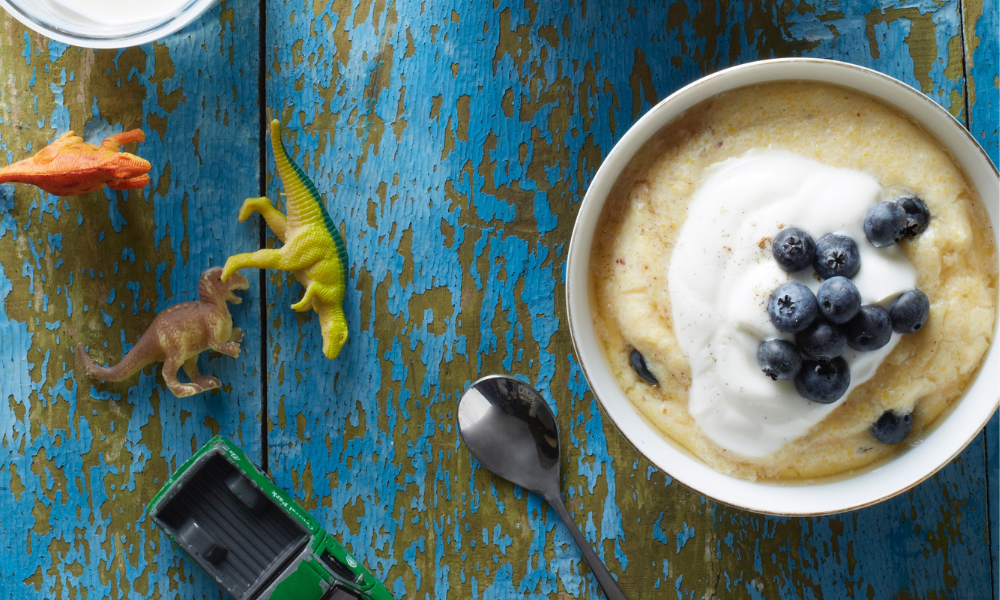 Blueberry Almond Breakfast Polenta recipe | Stacie Billis