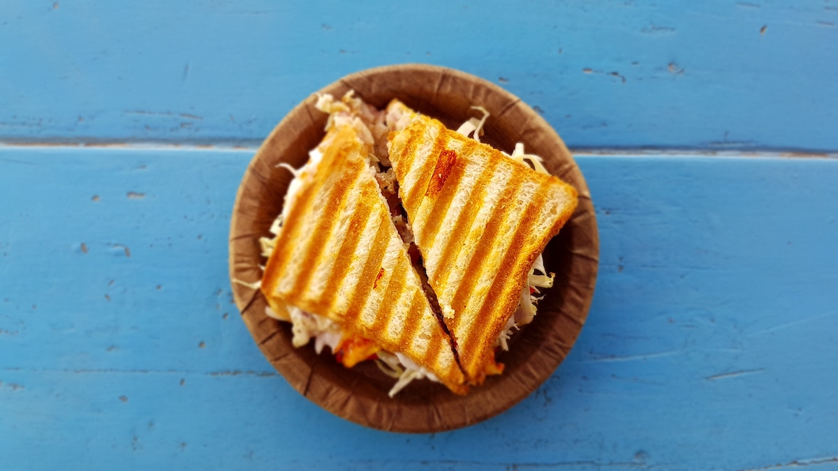 Easy dinner recipes made with a rotisserie chicken: Chicken Parmesan Panini | Stacie Billis