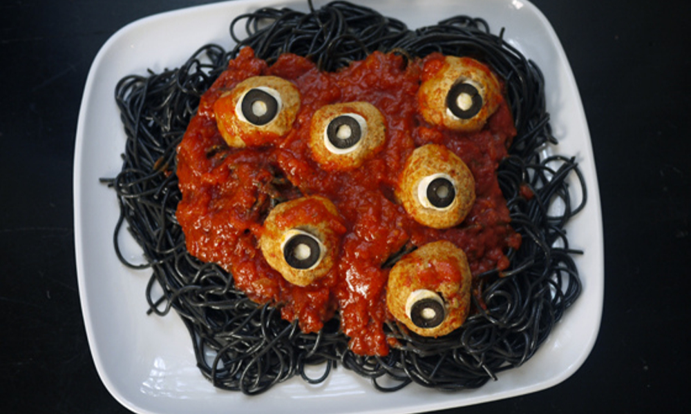 Spooky Halloween dinner idea: Pasta and eyeballs! | Stacie Billis
