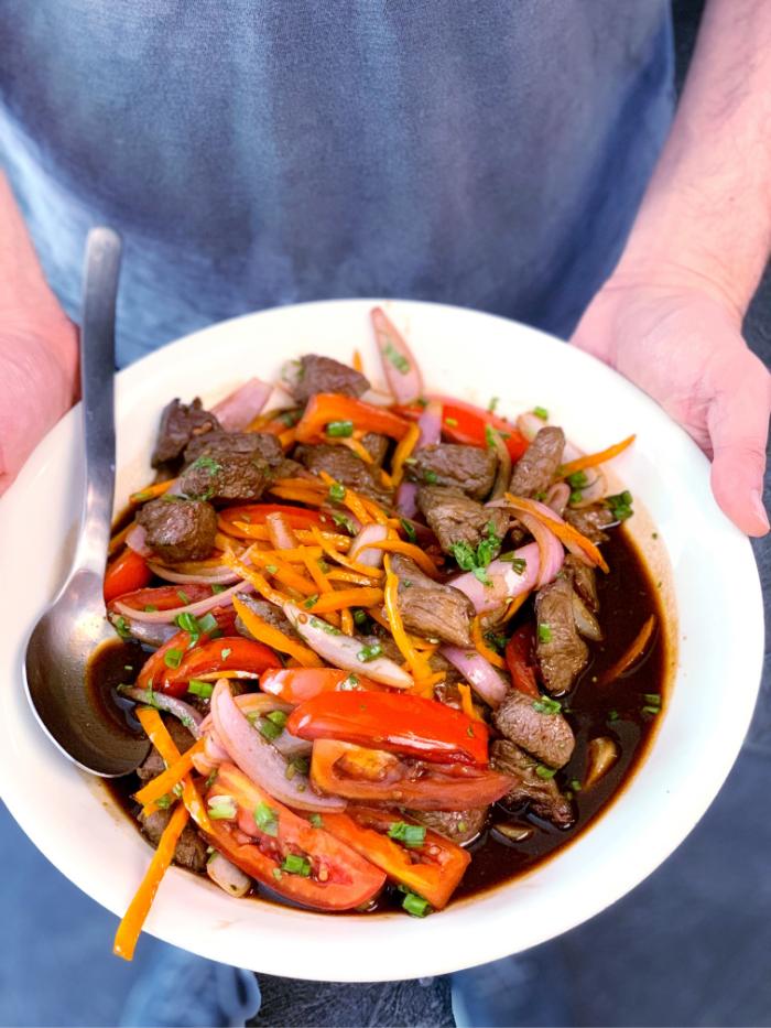 A new family dinner go-to: Lomo Saltado, Peruvian beef stir fry recipe | Stacie Billis