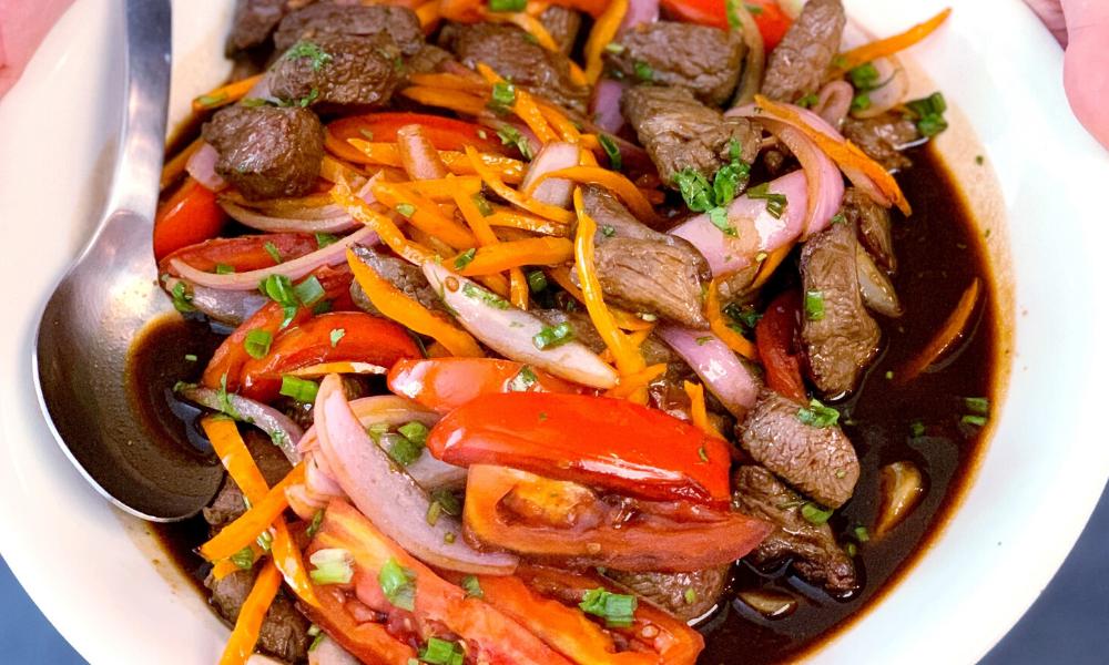 A new family dinner classic: Lomo Saltado, Peruvian beef stir fry recipe | Stacie Billis