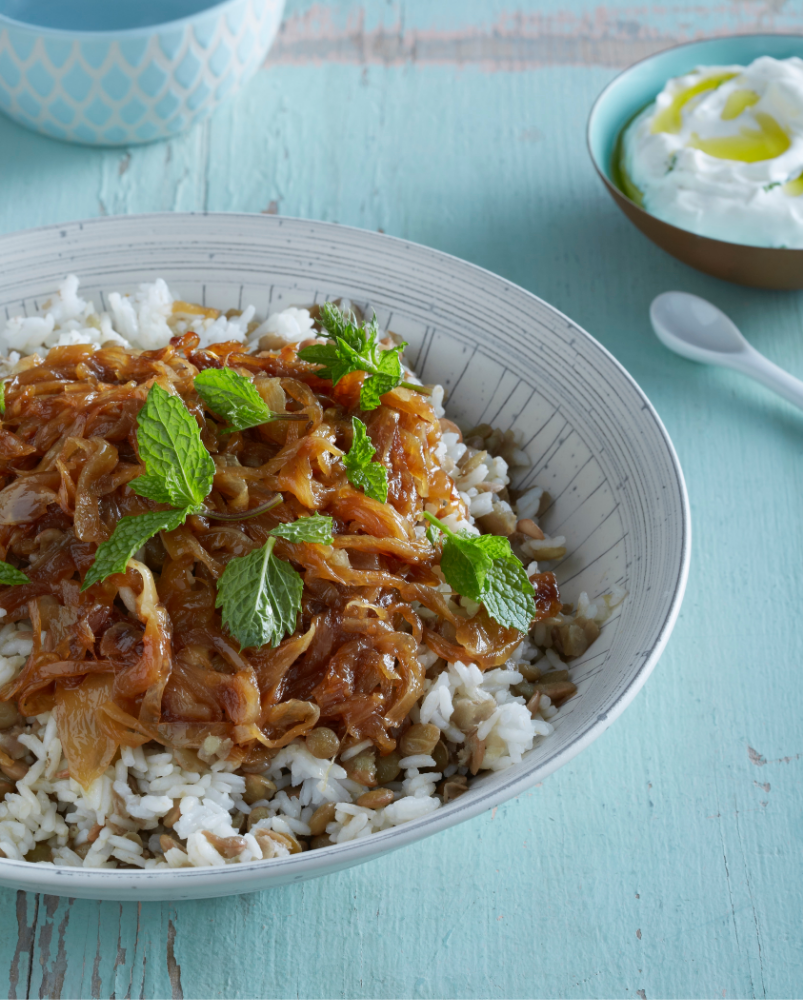 Rice and Lentil Pilaf with Caramelized Onion: An easy Mujadara recipe for a hearty all pantry meal | Stacie Billis