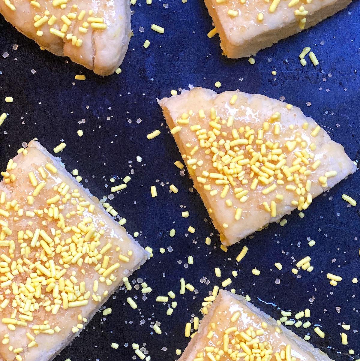 Lemon Cream Scones with sprinkles on top! | Stacie Billis