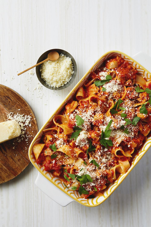 Chicken Thigh Ragu: a lighter brighter pasta and meat sauce | from Winner Winner Chicken Dinner by Stacie Billis