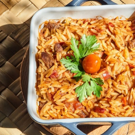 Greek Giouvetsi recipe (Yiouvetsi): A Greek Beef Stew Baked with Orzo that's a perfect family meal | Stacie Billis